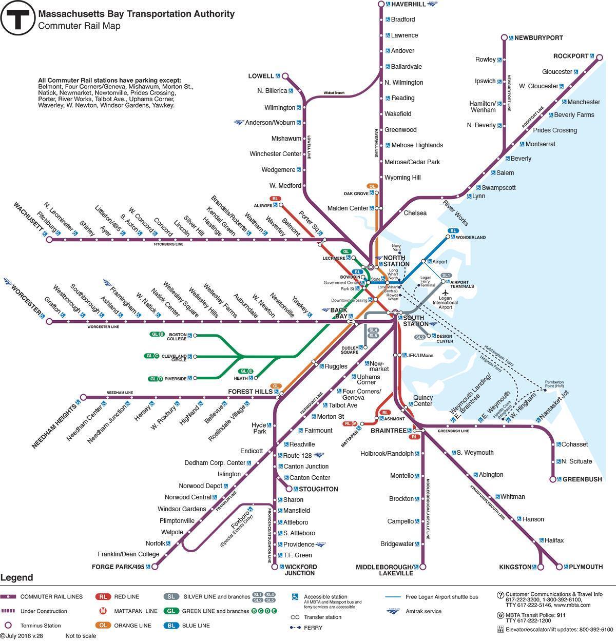 karta pendeltåg MBTA pendeltåg karta   Pendeltåg karta Boston (Usa) karta pendeltåg