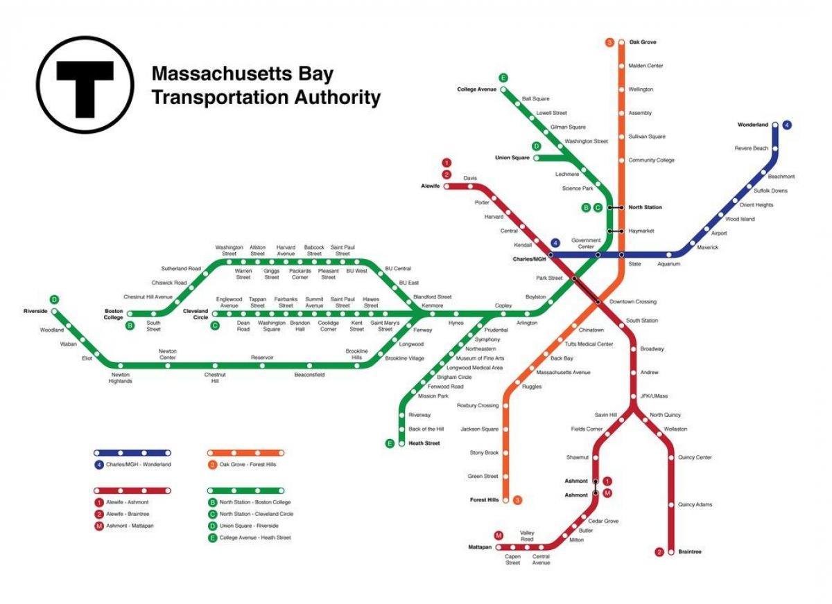 Tunnelbana Karta Boston Tunnelbana Boston Karta Usa